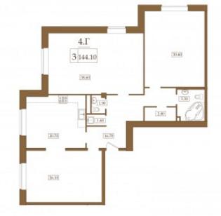 Планировка Трёхкомнатная квартира площадью 144.1 кв.м в ЖК «Петроградец»