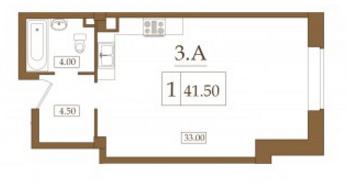 Планировка Студия площадью 41.5 кв.м в ЖК «Петроградец»