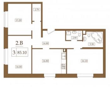 Планировка Двухкомнатная квартира площадью 85.1 кв.м в ЖК «Петроградец»
