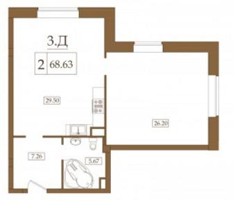 Планировка Двухкомнатная квартира площадью 68.63 кв.м в ЖК «Петроградец»