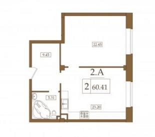 Планировка Двухкомнатная квартира площадью 60.41 кв.м в ЖК «Петроградец»