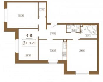 Планировка Трёхкомнатная квартира площадью 101.2 кв.м в ЖК «Петроградец»