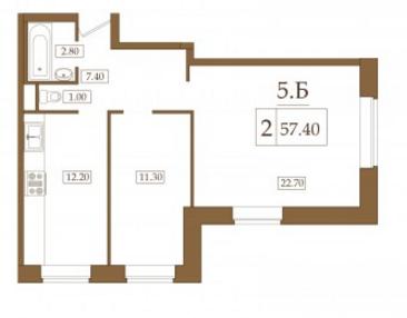 Планировка Двухкомнатная квартира площадью 57.4 кв.м в ЖК «Петроградец»